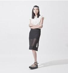 アーバンデザイン黒ブラックシンプル透けスカートタイトシースルーレディースファッションアジア台湾ナイロンNYLONTOKYO東京原宿