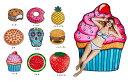 【スイーツ ビーチマット タオル スウィーツ ハンバーガー スカル イチゴ ピザ ケーキ クッキー ビーチシート プール ビーチ 海 プール ラウンドビーチマット ビーチマット