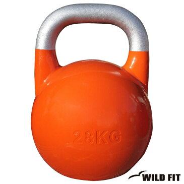 JKA公認ケトルベル 28kg オレンジ[WILD FIT ワイルドフィット] 送料無料 ウエイト トレーニング ダンベル 筋トレ 握力