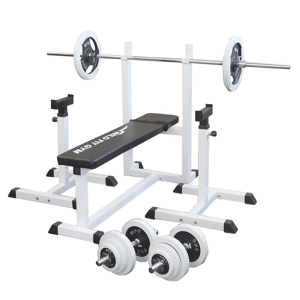 トレーニングジムセット 白ラバー70kg[WILD FIT ワイルドフィット]バーベル ダンベル ベンチプレス トレーニング器具 フィットネス 大胸筋 腹筋 上腕筋:ワイルドフィットネットショップ
