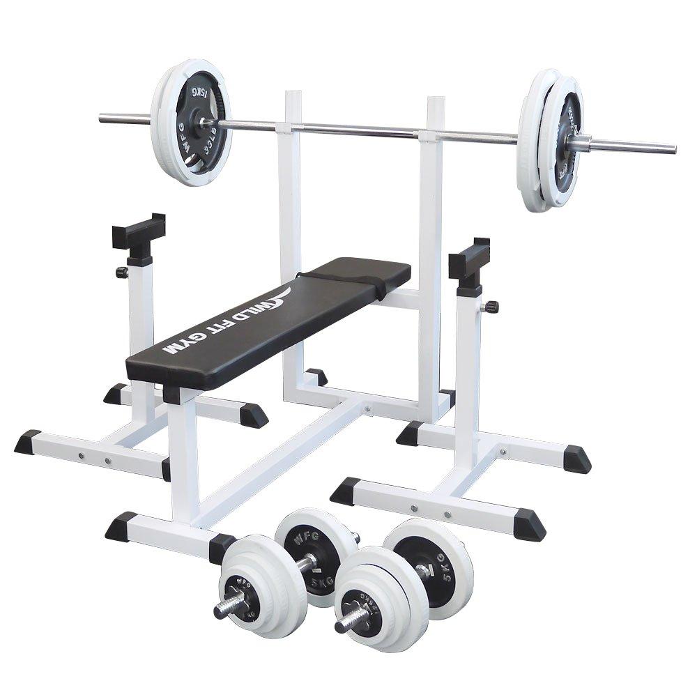 トレーニングジムセット 白ラバー100kg[WILD FIT ワイルドフィット]バーベル ダンベル ベンチプレス トレーニング器具 フィットネス 大胸筋 腹筋 上腕筋:ワイルドフィットネットショップ