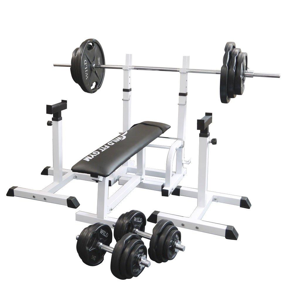 フォールディングジムセット 黒ラバー140kg[WILD FIT ワイルドフィット] 送料無料 バーベル ダンベル ベンチプレス トレーニング器具 大胸筋 腹筋 上腕筋