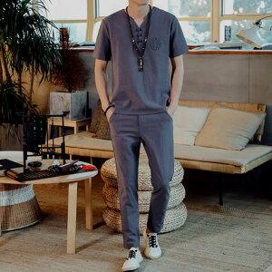 綿麻 セットアップ メンズ 半袖Tシャツ&ショートパンツ2点セット リネン ルームウェア トップス 上下セット 部屋着 カジュアル 夏新作