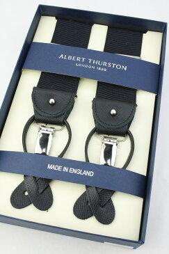 (アルバート・サーストン) ALBERT THURSTON 40mm幅サスペンダー ブラック×ブラックのドット 英国製 メンズ ブレイシス 太め クリップ式 ボタン式 TWO WAY( 送料無料 )