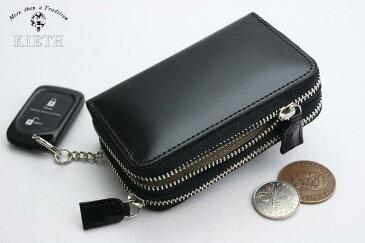 (キース) KIETH コードバンのWファスナーのコイン&キーケース ブラック 日本製 馬革 本革 メンズ 財布 小銭入れ( 送料無料 )
