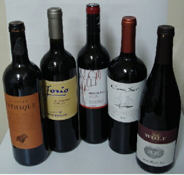 『神の雫』登場安旨ワイン5本セット(ヴォルフピノ、コノスルMR、イゲルエラ、ミティーク、ヨーリオ)