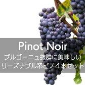 フランス・ブルゴーニュ、抜群に美味しいリーズナブル系ピノ・ノワール4本セット【ワインセット】