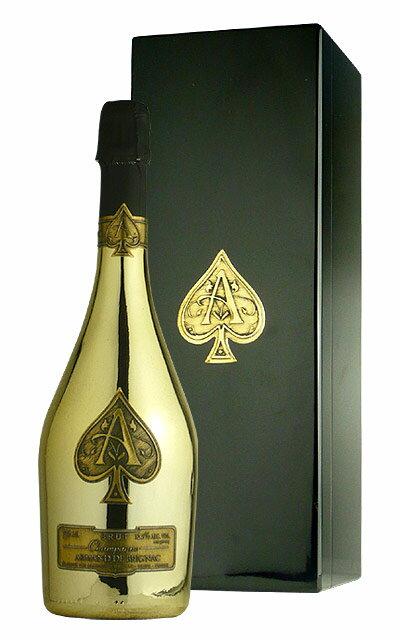 ワイン, スパークリングワイン・シャンパン  750mlARMAND DE BRIGNAC Brut Champagne Ace of Spades Gold AOC Champagne (DX Gift Box)