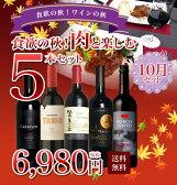 【送料無料】食欲の秋!肉で楽しむ飲み比べワイン5本セット!