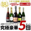【送料無料】60セット限定 18周年記念超特別企画 うきうき厳選 超限定販売 高級辛口シャンパーニュ究極豪華5本セット シャンパン ワインセット スパークリングワインUkiuki Special Champagne set・・・