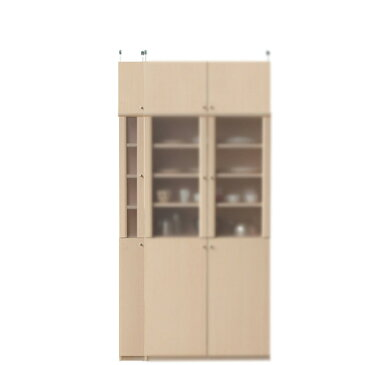 木製カップボード高さ217〜226cm幅15〜24cm奥行19cm(高さ=ラック高さ178cm+突っ張り棚高さ32cm+伸縮突っ張り金具)半透明片開き扉木製カップボード