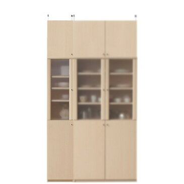 木製カップボード高さ232〜241cm幅30〜44cm奥行19cm(高さ=ラック高さ178cm+突っ張り棚高さ47cm+伸縮突っ張り金具)半透明片開き扉木製カップボード