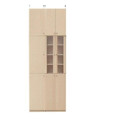 扉付き薄型食器棚高さ241〜250cm幅45〜59cm奥行19cm厚棚板(耐荷重30Kg)(高さ=ラック高さ178cm+突っ張り棚高さ56cm+伸縮突っ張り金具)半透明両開き扉扉付き薄型食器棚