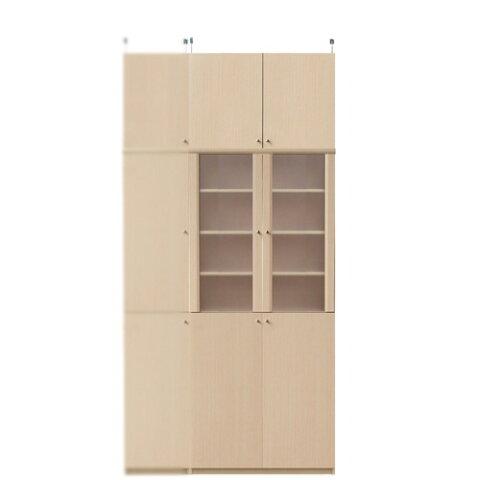 木製キッチンボード高さ232〜241cm幅71〜80cm奥行40cm厚棚板(棚板厚2.5cm)(高さ=ラック高さ178cm+突っ張り棚高さ47cm+伸縮突っ張り金具)半透明両開き扉木製キッチンボード