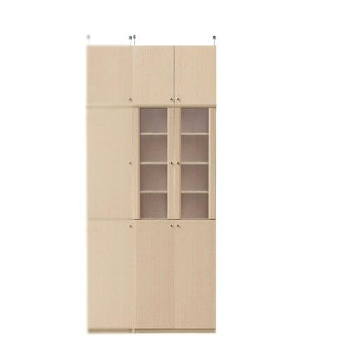 深型木製キッチンボード高さ226〜235cm幅60〜70cm奥行46cm厚棚板(棚板厚2.5cm)(高さ=ラック高さ178cm+突っ張り棚高さ41cm+伸縮突っ張り金具)半透明両開き扉深型木製キッチンボード