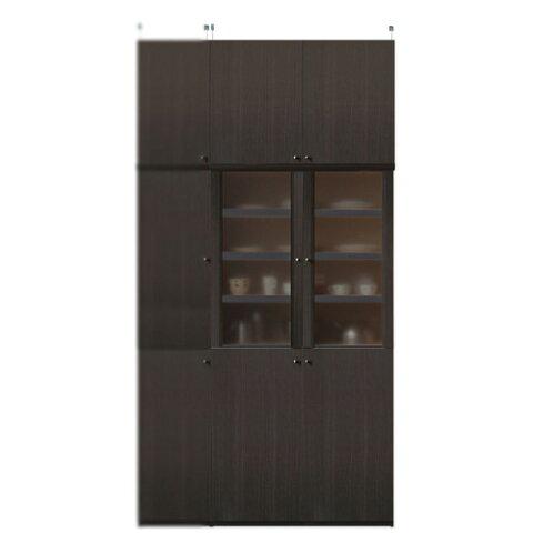 深型木製キッチンボード高さ241〜250cm幅81〜90cm奥行46cm厚棚板(棚板厚2.5cm)(高さ=ラック高さ178cm+突っ張り棚高さ56cm+伸縮突っ張り金具)半透明両開き扉深型木製キッチンボード