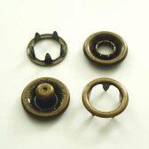 【カネエム製】 アメリカンホック 金属スナップボタン リング4パーツセット 10mm アンティックゴールド 【30set】