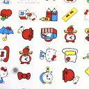 【オックス生地】ハローキティコモノ柄オフホワイト白109cm巾/10cm単位
