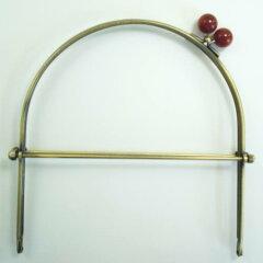 手作りの手芸アイテムに♪金属 がま口 口金 ベンリー口金 19cm幅 珠付 アンティックゴールド