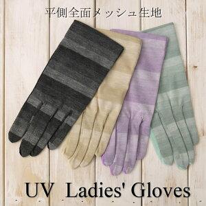レーヨン混平側メッシュUVカット手袋(グラデーションボーダー柄)ショート丈五本指タイプ