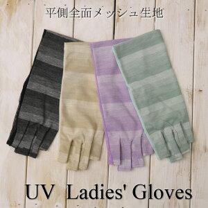 レーヨン混平側メッシュUVカット手袋(グラデーションボーダー柄)ショート丈指切りタイプ