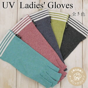 オーガニックコットン100%UVカット手袋 指切りタイプ