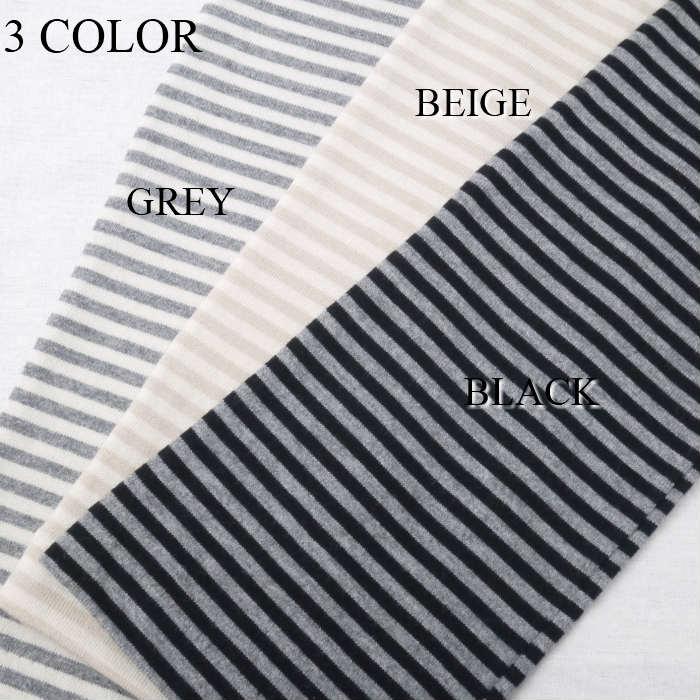 UVカット&接触冷感綿100%ボーダー柄ロング丈手袋五本指タイプ(刺繍デザイン)