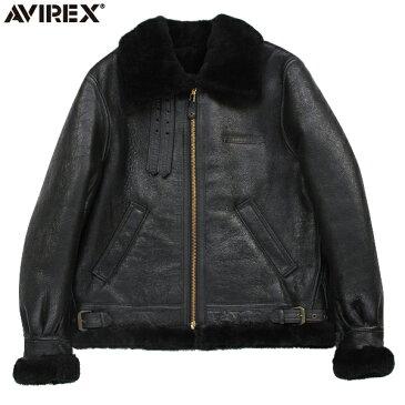 """AVIREX アビレックス 2104 B-3 シープスキン レザージャケット BLACK(48・50) 極寒の高空飛行時に使われた通称""""ボマージャケット"""" 妥協のないディティール・素材使いがまさに一生物 《WIP03》【Sx】"""