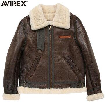 """AVIREX アビレックス 2104 B-3 シープスキン レザージャケット BROWN(48・50) 極寒の高空飛行時に使われた通称""""ボマージャケット"""" 妥協のないディティール・素材使いがまさに一生物 《WIP03》【Sx】"""