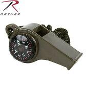 ROTHCO ロスコ スーパーホイッスル OD 9401 小型コンパス(方位磁石)と温度計が付属 何かと役立つミルスペックモデル 【WIP03】