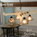シャンデリア 【Wild Strawberry・ワイルドストロベリー】 LED対応 スイーツ 4灯 ステンドグラス ランプ