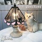 猫のペンダントライト【Albina・路地裏のアルビナ】LED対応ステンドグラスランプネコ