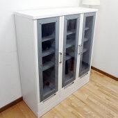 ガラスキャビネットキャビネットガラスフリーボードホワイト鏡面コレクションボードフリーボードリビング収納105cm幅フリーラック書棚本棚リビングボード収納家具リビング収納