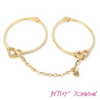 貝琪 Johnson 貝琪 Johnson 手鏈 / 手鐲囚犯的愛手銬手鐲 (黃金) 囚犯的愛鉸鏈的手銬手鐲 (金) 婦女的配件女士手鐲