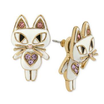 ベッツィージョンソン ピアス Betsey Johnson Gold-Tone White Enamel Cat Earring Jackets (White) ホワイトエナメル キャット ピアス (ホワイト) レディース 新作 正規品 日本未入荷 アメリカ買付 海外通販 ジュエリー アクセサリー 猫 白猫 アニマル