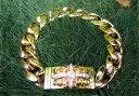 アメリカ直送!クロムハーツ、ダイヤモンド装飾 22金YG製 フローラルクロスIDブレスレットChrom...