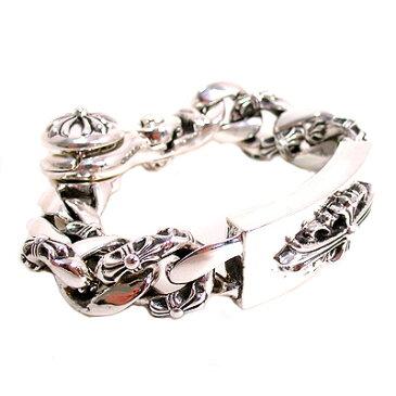 【Chrome Hearts】 クロムハーツ ブレスレットフローラルクロスIDファンシーチェーンブレスレットwithクリップFloral Cross ID Fancy Chain Bracelet With Clip本物 正規品 アメリカ買付 USA直輸入