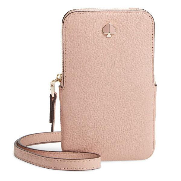 スマートフォン・携帯電話用アクセサリー, ケース・カバー  iPhone 8ARU6203 Kate Spade Polly Pebble Leather Phone Crossbody (Flapper Pink) ()