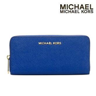 Michael Kors 長錢包噴氣機旅行郵編周圍大陸架的錢包 (藍色)-噴氣機拉鍊錢夾錢包 (藍色) Michael Michael Kors Michael Michael Kors 新真正美國購買女士