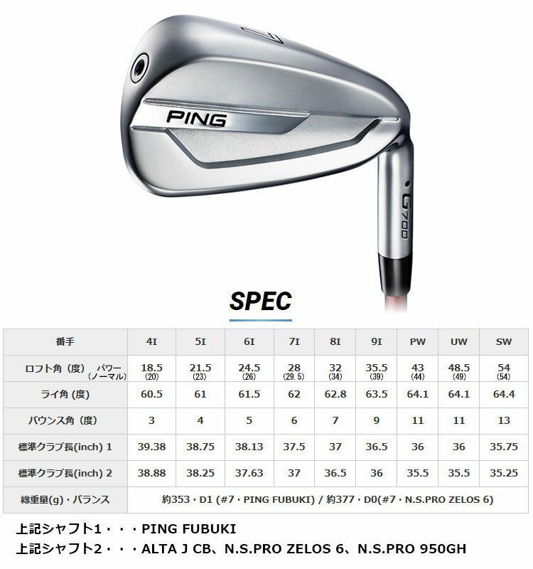 【左右選択可】PING ピン G700 アイアン MCI 90 100 110 5~PW (6本セット) 日本正規品