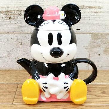 ディズニー わけあり アウトレット ミニーマウス ティーフォーワン ミニー ティーポット 茶器 陶器 急須 マグカップ お土産 おみやげ 訳あり マグ お茶 茶こし付き