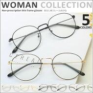 伊達メガネ細フレームラウンド型鼻パッドメガネ度なし男女兼用レディースメンズズレ防止メタルゴールドシルバー眼鏡めがね伊達眼鏡伊達めがねおしゃれメガネ可愛いかわいいおしゃれカップル[gl-003]