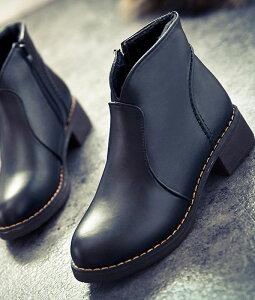 ブーツショートブーツレディースショートシューズローヒール靴秋冬黒ブラックキャメル合皮太ヒールサイドファスナーラウンドトゥVカット履きやすい歩きやすいカジュアル美脚かわいいおしゃれ