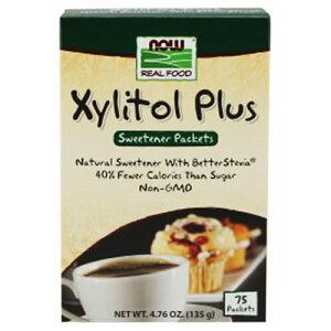 キシリトールプラス 個包装 75回分 135g NOW Foods(ナウフーズ)キシリ/コーヒーシュガー/紅茶/歯/粉末/ナウ