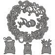 【272】WonderHouse/ワンダーハウス/ダイ/クリスマス リース トナカイ スクラップブッキング ダイカット ペーパー クラフト ハンドメイド カード作り アルバム作り