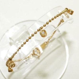 K18 18 k YG 黃色的金手鐲鑽石 0.10 二手飾品 ★ ★