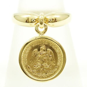 Mexican peso 2 pesos DOS PESOS Total weight about 4.8g Coin gold coin K21.6YG K18YG ring No. 12 bullion used jewelery ★ Free shipping ★ [like new] [used] gift Wrapping free