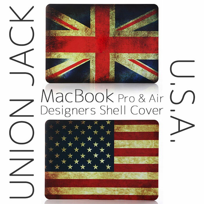 【 MacBook Pro & Air 】【メール便不可】 UNION JACK U.S.A. デザイン シェルケース シェルカバー MacBook Pro & Air & Retina display 13インチ smart shell cover マックブック カバー ケース Apple ユニオンジャック イギリス ロンドン 星条旗 アメリカ画像