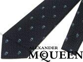 【送料無料】Alexander McQueen アレキサンダー マックイーン シルク ネクタイ ドット×スカル柄 165724-4Q053-4069 ブランド/メンズ/男性用