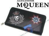 【送料無料】Alexander McQueen アレキサンダー マックイーン ジップアラウンド長財布 ペイント ブラックレザー 小銭入れあり 303743-DLE0N-1060 ブランド/メンズ/男性用